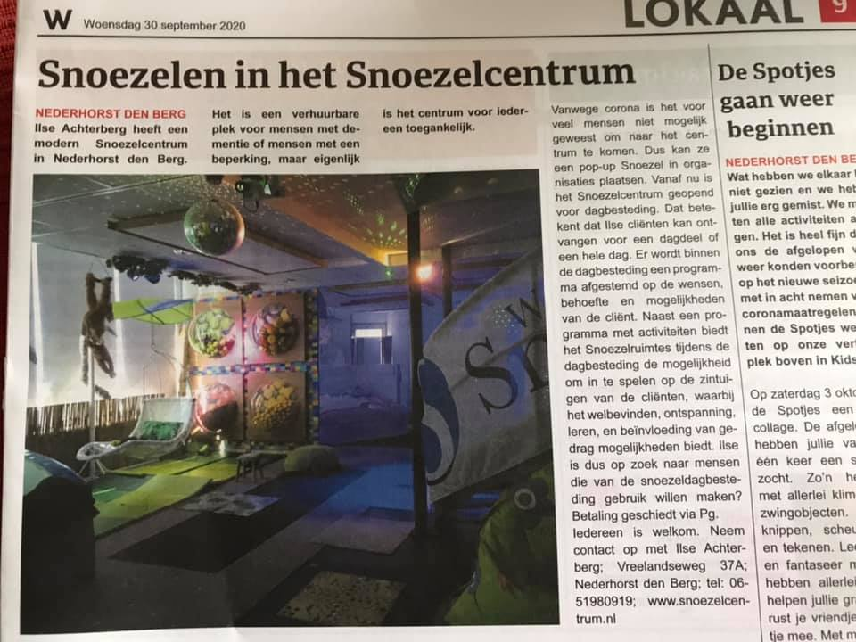 Snoezelen in weekblad